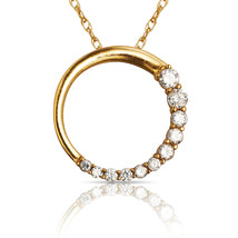 0.60CT Created Diamond Round Circle of Love Pendant & Chain 14K Yellow Gold - $295.25+