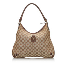 Pre-Loved Gucci Brown Beige Canvas Fabric GG Abbey Shoulder Bag Italy - $387.09