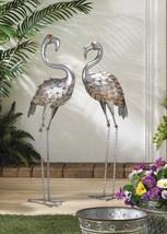 Set of 2 Galvanized Iron Standing Garden Flamingo Statues 3 Feet Tall - $77.17