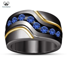 925 Sterling Silver Black Rhodium Finish Men's Band Ring Round Cut Blue Sapphire - $93.99
