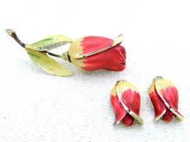 VTG BSK Pink Yellow Enameled Clear Rhinestone Rose Brooch Pin Earring Set - $34.65