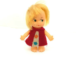 Vtg Tiny Plastic Doll Herman Pecker Uneeda PeeWee Clone Blonde Red Dress 1960s - $9.74