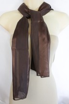 New Women Brown Long Stripes Dressy Soft Fabric Neck Tie Scarf Cute Wrap Fancy - $14.69
