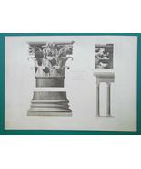 ROME Pantheon Portico Corinthian Capital & Columns - 1905 d'Espouy Print - $40.46