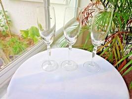 Set of 3 Studio Nova Evita Pattern Clear Crystal Champagne Flutes Stemware - $23.76