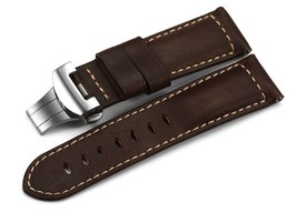 24mm Genuine Calf Leather Military Watch Band W/ Polished Deployant for ... - $81.04