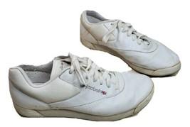 Reebok Classic White Running Shoes Women 8.5 M British Flag Logo Tennis Workout - $24.49
