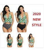 Women Sexy Monstera Ruffled High Waisted Bandage Bikini Bikini Set Swimwear - $15.00