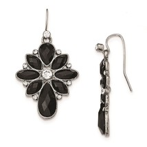 Silver Tone Black and White Crystal Textured Dangle Earrings 1928 Boutique - $21.73
