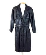 Vtg 80s Luciano Black Leather Duster Overcoat Trench Coat Storm Rider Ja... - $38.60