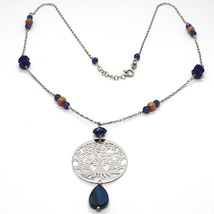 Collar Plata 925 , Lapislázuli, Colgante Medallón Árbol de la Vida - $163.38