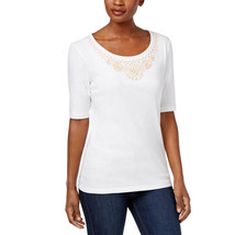 Karen Scott Cotton Beaded-Neck Top in Bright White, Large - $18.80