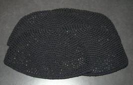 4 X Frik Kippah Yarmulke Yamaka Black Crochet Knit Judaism Israel 21cm Judaica image 1