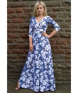 Long Elegant Summer Maxi Dress Wedding Evening Party Floral White Blue B... - $49.00