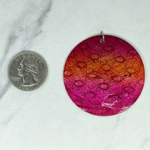 Pink Orange Ombre Shell Disc Upcycled Pendant - $12.59