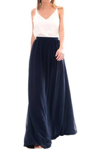 NAVY BLUE Elastic Waist Tulle Maxi Skirt Navy Wedding Bridesmaid Skirts Floor image 1