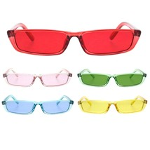 Womens Pop Color Narrow Rectangular Cat Eye Clear Frame Plastic Sunglasses - $9.95