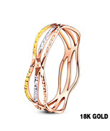 18k Pure Gold Color Ring Trendy Design Smart Women Fine Jewelry Miss Girl - $349.99