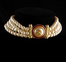 """LARGE designer pearl necklace / Richelieu enamel eagle  / 28""""  wedding jewelry / image 4"""