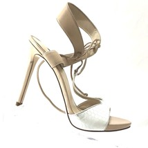 GUESS Women's Alexes T-Strap Sandal Cream / White Size 5.5 Leather 4.5 Inch Heel - $35.29
