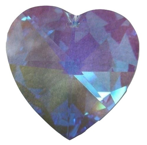 Swarovski 28mm Blue Violet Aurora Borealis Large Crystal Faceted Heart
