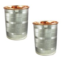 Tumblers Glasses Set of 2 Drinkware Accessories Copper and Stainless Ste... - $16.79
