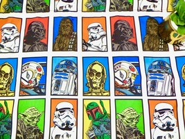 Star Wars Characters Twin Flat Sheet Darth Vader Multicolor Squares Luca... - $12.86