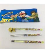 Vintage Pokemon Pencil Case Pouch 1998 + 3 Gel Pens 1999- Pens Don't Work - $9.49