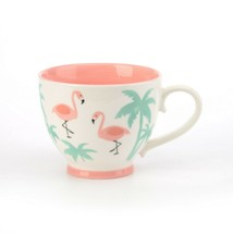 Footed Pink Flamingo Mugs 14 oz Set of 4 by Signature Housewares - $45.49
