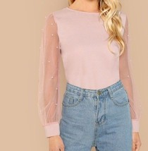 Pearl Beaded Mesh Sleeve Top Round Neck Weekend Casual Blouse 3 Colors - $33.29