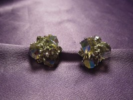 Vogue Vintage Purple Green Aurora Borealis AB Crystal Clip On Earrings - $49.50