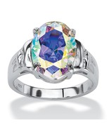5.81 TCW Aurora Borealis CZ .925 Sterling Silver Cocktail Ring - $39.82