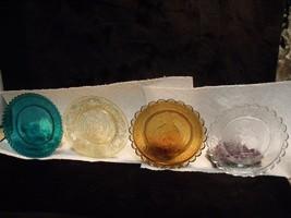 "SET OF (4) VINTAGE SANDWICH GLASS 3 1/4"" CUP PLATES - $27.72"