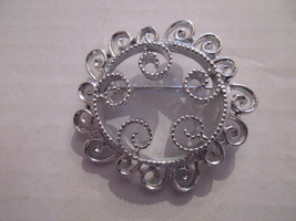 "Vintage Silver Tone Swirly Brooch Pin, Sarah Coventry, approx. 1 7/8"" ro... - $5.99"