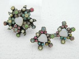 Coro Opaline Pastel Rhinestone Faux Pearl Heart Brooch Earring Vintage Set - $59.39