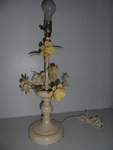 """20"""" Tole Vintage table Lamp Metal Flowers Leafs Enamel Painted - $37.37"""