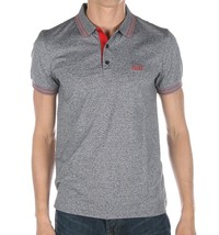 Hugo Boss Men's Slim Fit Premium Cotton Polo Shirt T-Shirt Gray/Pink 50315606