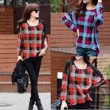 Womens Bat Sleeve Plaid Long-Sleeved T-shirt M/L