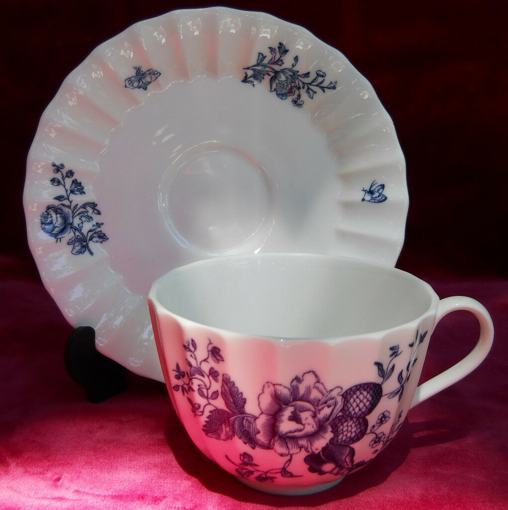 ROYAL WORCESTER BLUE SPRAYS CUP SAUCER SET S FLORAL