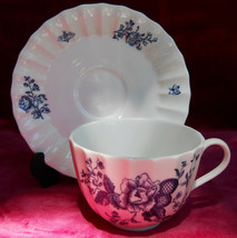 ROYAL WORCESTER BLUE SPRAYS CUP SAUCER SET S FLORAL - $21.02