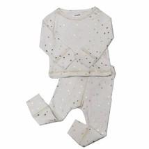 NWT Mud Pie Baby Girls Metallic Gold Star White Shirt Pants Outfit Set - $12.99