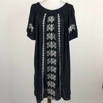 Women's White Loft Black Embroidered Shift Dress, Medium sz M - $23.15