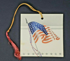Vintage gibson bridge tally card us flag new unused with string - $12.99