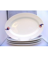 "MIKASA Porcelain 4  WHITE 13"" OVAL SERVICE PLATTERS DECORATED FUNKY HANDS - $39.40"