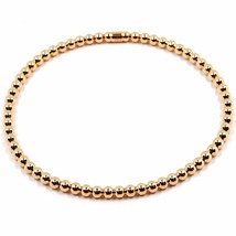 18K ROSE GOLD BRACELET, SEMIRIGID, ELASTIC, 3 MM SMOOTH BALLS SPHERES image 1