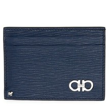 Salvatore Ferragamo Authentic Revival Gancio Sliding Card Case Fjord Blu... - $225.99