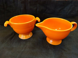 Vintage HLC Fiesta Orange Sugar & Cream Pitcher - Fiestaware 1950's - $49.95