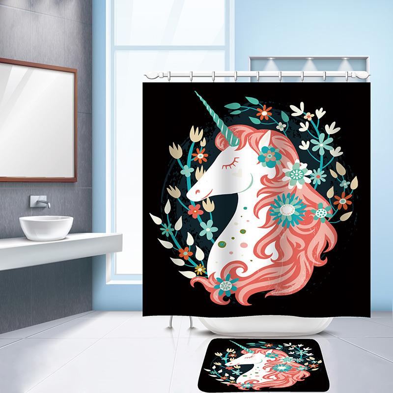 Urijk 1PC 2017 Trendy Unicorn Printed Waterproof Bathroom Shower Curtain with 12