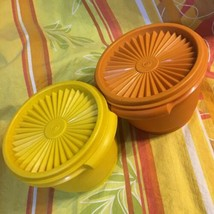 2 Vintage Tupperware Servalier Stacking Storage Containers, #886 w/ Lids... - $7.83