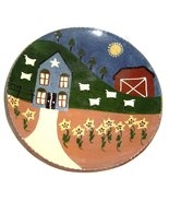 Turtle Creek Potters Folk Art Sheep Farm Scene Red Clay  Plate Signed    - $45.99